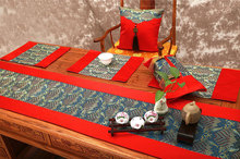 Thai Garden style luxury silk brocade table runner Jade table flag customization saphire blue wave with pure red(China)
