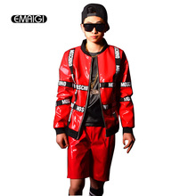 Custom made Men fashion jacket coat paint leather patch jacket stage show costumes outerwear male hip-hop rap baseball coat