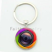 Trendy cool boys gift charm bright colorful camera lens keychain exquisite popular handmade glass alloy key chain jewelry KC162