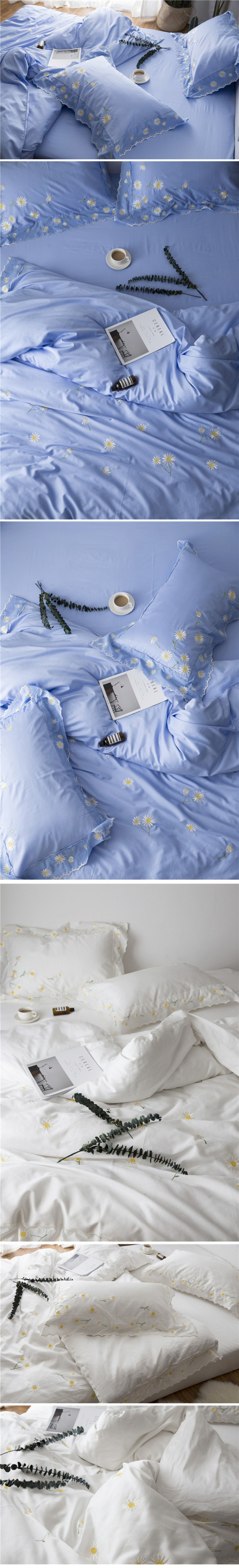 Wedding bedding sets king size 60s satin long staple cotton bed sheets romantic lace embroidery duvet cover bed linen 4