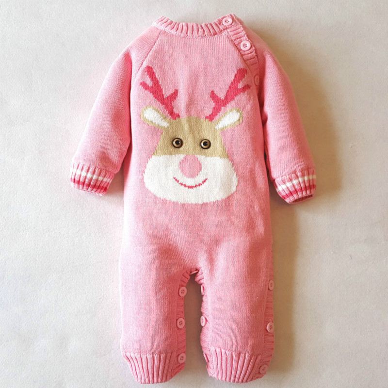 Dollplus Boy Rompers Winter Thick Climbing Clothes Newborn Boys Girls Warm  Cotton Romper Knitted Sweater Christmas Deer Outwear<br>