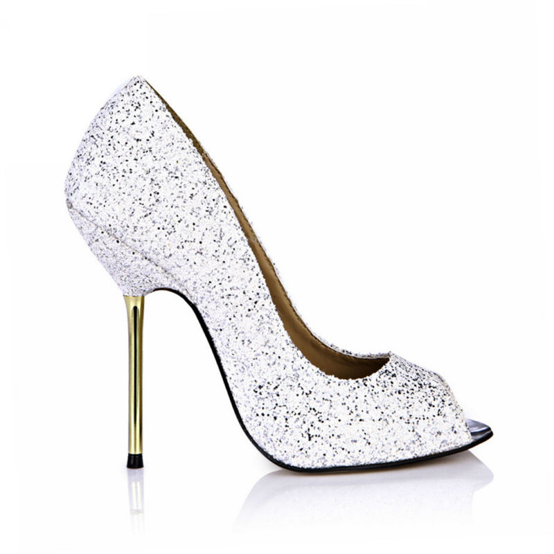 2017 New White Glitter Sexy Party Shoes Women Peep Toe Stiletto Iron High Heels Ladies Pump Plus Sizes 10 Zapatos Mujer 3845-a13<br><br>Aliexpress