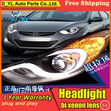 D-YL Car Styling for Hyundai Elantra Headlights 2012-2015 Elantra LED Headlight DRL Bi Xenon Lens High Low Beam Parking Fog Lamp(China)