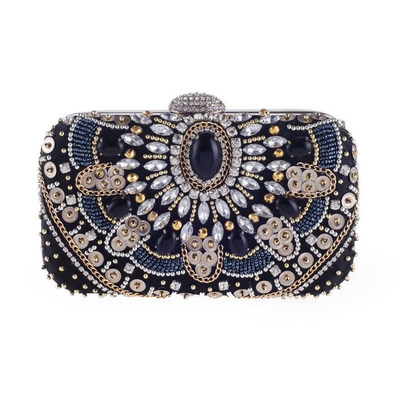 Female Vintage Beading Clutch Bag Shine Diamond Sequins Patchwork Party Womens Evening Bag Wedding Day Clutch Purse Ladies Gift<br>