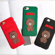 UVR For Iphone 6 6s 7 7 plus 5 5s se case cartoon Brown bear phone cases back cover mobile phone case Dust plug TPU capa funda