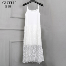 [GUTU] 2018 Spring New Pattern Solid Color Sleeveless Halter Mesh Knee-Length Ladies Inside Lace Sling Sweet Dress BA00200(China)