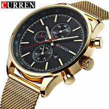 CURREN New Gold Quartz Watches Men Fashion Casual Top Brand Luxury Wrist Watches Clock Male Military Army Sport Steel Clocks(China)