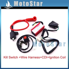 Kill Stop Switch + Racing Ignition Coil + AC CDI Box + Wirings Loom Harness For Chinese Pit Dirt Bike 50 90 110 125 150 160 cc(China)