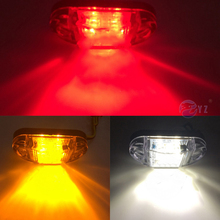 For Car Truck Trailers 2Pcs Waterproof ABS Piranha LED Side Marker Blinker Light Brake Signal Lamp 12V 24V White Yellow Red