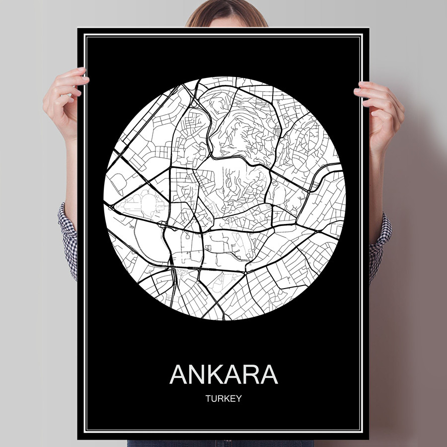 World City Map Ankara Turkey Print Poster Print on Paper or Canvas Wall Sticker for Bar Pub Cafe Living Room Home Decoration(China)