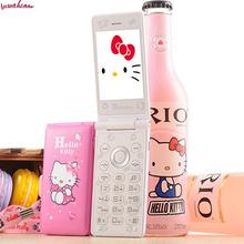 2 Batteries Flip Dual Sim Cell Phones D10 Breath Light Touch Screen Women Girl Cartoon Hello Kitty Unlocked Mobile Celular KUH(China)