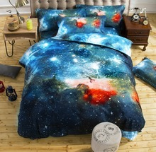 3D Bedclothes 2pcs/3pcs/4pcs Bedding Sets King Or Queen Reactive Printing Starry sky Space Themed Bed Linen Bed Sheet