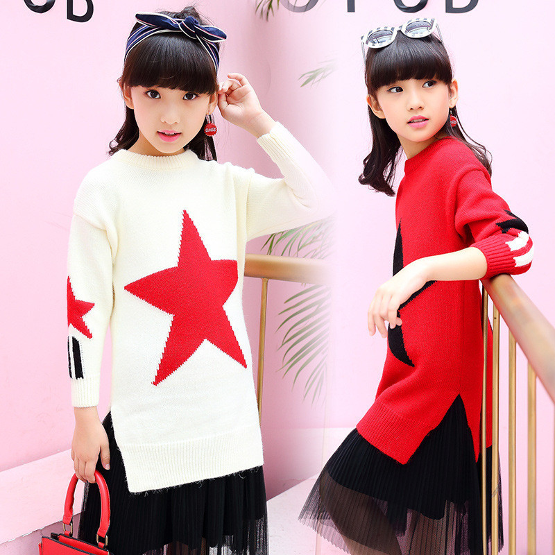 5T-14T Childrens Clothing Sweater Girl Clothes Casual Five-Pointed Star Knitted Sweater Spring Autumn Sweater For Girl V20<br>