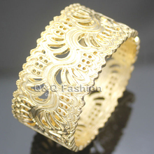 Ornate Gold Cut Out Flower Filigree Hinged Wide Bracelet Bangle Cuff Art Deco Jewelry 2017 New