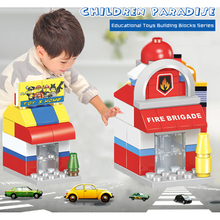 HUIMEI Mini Street Shop Model Building Blocks Fast Food Retail Stores Police Office Mini Blocks Educational Toy for Children