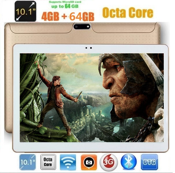 10 inch Android 7.0 3G phone call Tablets  Octa Core 4GB RAM 64GB ROM IPS Dual Cameras 10.1 +Gifts 1280*800 (China)