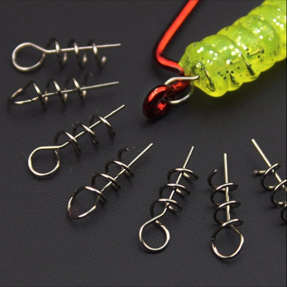 50pcs Soft Lure Baits Hook Pin Spring Fixed Lock Fishing Screw Needle  TC