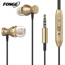 Fonge Magnetic Earphones Headphone Metal Headsets Hot Sale 3.5mm Super Bass Stereo Earbuds With Mic For Mobile Phone MP3 MP4(China)