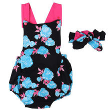 Casual Summer Newborn Baby Girls Floral Sleeveless Romper Blue Rose Jumpsuit+ Headband 2pcs Outfits Clothes Baby Clothing Set