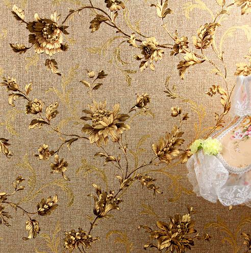 Gold Foil Flowers Wallpapers Vintage Decor Wall Metallic Golden Florals Wallcovering<br>