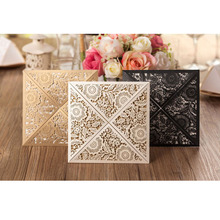 50Pcs Gold White Black Design Rustic Marriage Wedding Invitation Laser Cut Invitation Card Envelope Seals Event & Party Supplies(China)