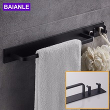Black Space Aluminum Towel Bar with Double Robe Hooks Wall Mounted Bathroom Accessories Towel Rack Towel Shelf With Hooks(China)