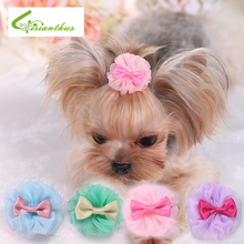 Dog Pet Hair Cute Design with a Bowknot Lace Organza Style Dog Hair Clips Accessories Pet Grooming Products Cute 4 Colors(China)