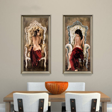 2017 European Noble Lady Oil Paintings Body Art Canvas Painting Hotel Ornament HD Print Wall Picture For Living Room Home Decor