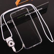 Cover Cell phone Case For Xiaomi Mi5c Mi 5C Simple Transparent TPU Side Hard Back Protection Shell With Dust plug White Lanyard