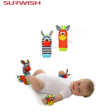 Surwish One Pair Lovely Infant Baby Kids Animal Bells Foot Sock Rattles Soft Toys - Random Delivery