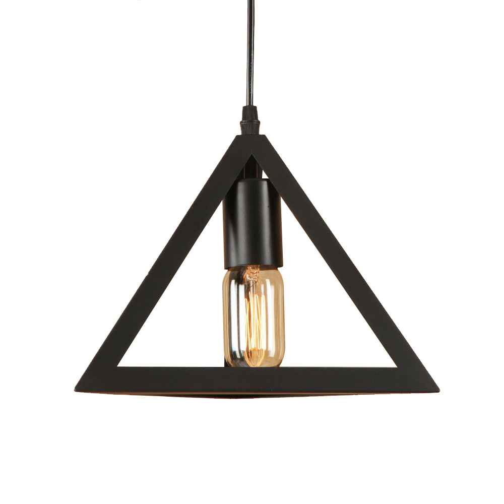 Loft geometry iron black pyramid/square style pendant lamp adjust cord E27 LED hang lamp retro pendant lights for living room <br>