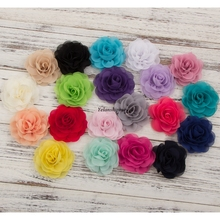 30 pcs/lot 20 colors 8.5 cm Chiffon Petals Poppy Flower Hair Clips Rose Fabric Hair Flowers For Craft Hair Accessories Headband
