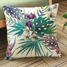 45*45 Cm Colorful Tropical Plants And Flowers Birds Pattern Soft Short Plush Throw Pillow Cushion For Home Sofa