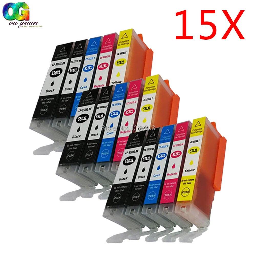 15 x Hi-yield Compatible Canon ink cartridges PGI-550 CLI-551 PGI550 CLI 551 for IP7250 IP8750 IX6850 MG5450 MG6350 MX725 MX925<br><br>Aliexpress