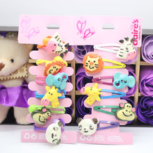 6/pack children Animals series headwear girls resin hair clip snap clips & elastic rubber hair band baby kids hair accessories