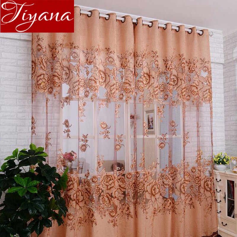 Curtains European Floral Burnout Cortinas Purple Voile Window Living Room Bedroom Tulle Curtains Coffee Sheer Fabrics T&381 #20