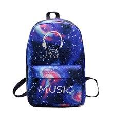 Night Light Cool Backpack Music Boy Backpacks Luminous School Bags Teenager Girls Boys Book Bag Starry Sky Backpack 591