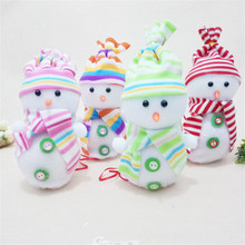 Hot sale 2017 New arrival lovely Santa Claus Snowman Christmas Candy Packaging Christmas Candy Jar Plastic +cloth #0911(China)