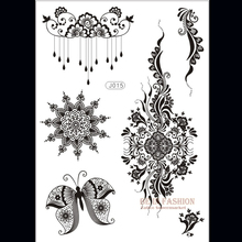 1piece Flower Sun Lace Black Henna Tattoo Sticker Flash Tatoo Gold Silver Buddha Tatts Designs Fake taty Indian on hand J015B(China)