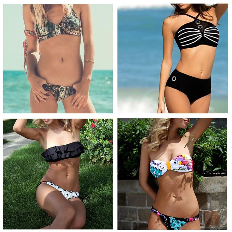 2017 New Micro Bikini Women Bandeau Swimsuit Floral Swimwear Lady Push Up Biquini Thong Bottom Bathing Suits Brazilian Beachwear<br><br>Aliexpress