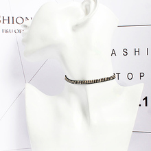 Female Black Ribbon Choker Necklace Harajuku Fake Collar Simple Elegant Gold Color Alloy Party Wedding Jewelry for Cool Girl(China)