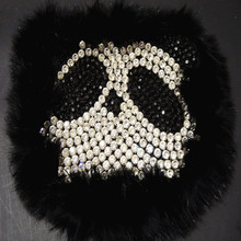 Unique Patc Embroidery Fur Rhinestone panda Applique Leather decals Manual nail bead accessories Black(China)