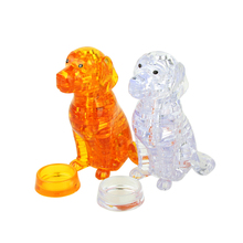 Hot Sale 3D Crystal Puzzle Dog DIY Jigsaw Miniature Animal Assembly Model Gift Decor Yellow/White Birthday Gift Toys for Kids