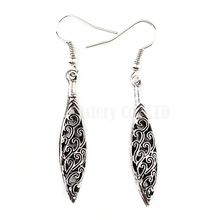 Ethnic Silver Color Carved Chinese Happy Cloud Spike Earrings Jewelry Jewellery Gift For Women Girl