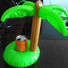 Summer Bath Toy Cute Coconut Tree Drink Holder PVC Inflatable Floating Coconut Trees Toy Swimming Pool Bathroom Beach Water Toys