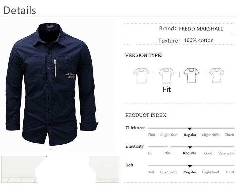 Fredd Marshall Fashion Men's Shirts Spring Cotton Solid Color Long Sleeve Male Shirt with Zipper Pockets Camisa Masculina Plus Size (2)