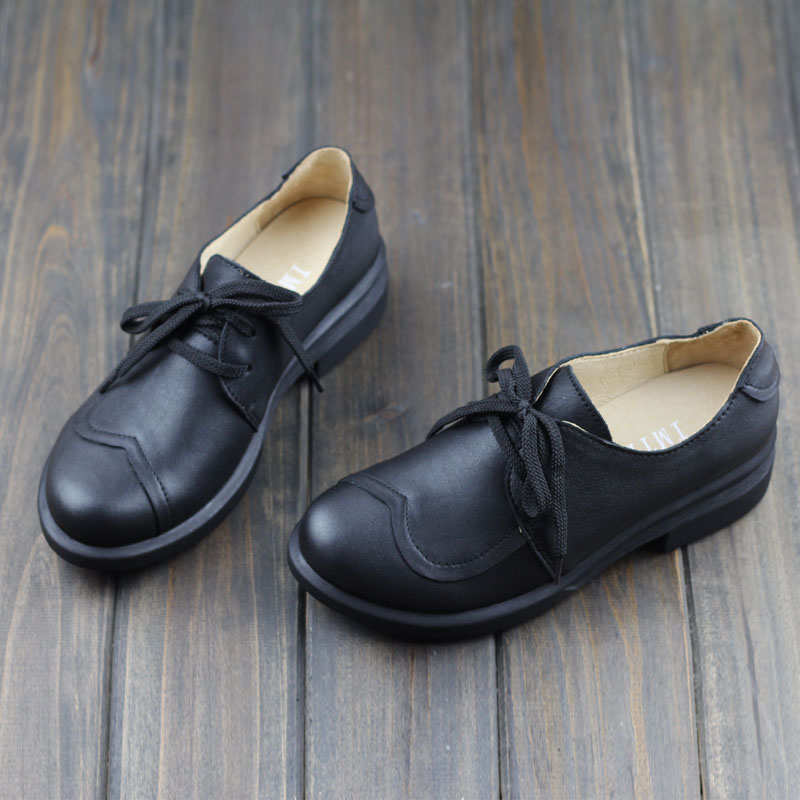 OhAnna Womens Shoes Black Lace up Flat shoes Genuine Leather Woman Moccasins Shoes 2017 Spring Autumn Footwear (1326-1)<br>