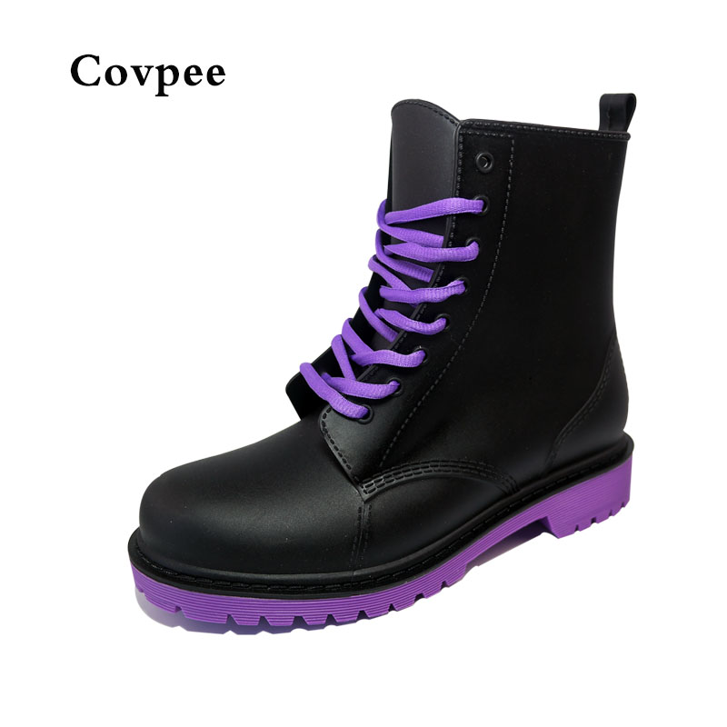 2018 ankle boots for women rain boots military rubber tactical summer leather boots waterproof solid square heel <br>