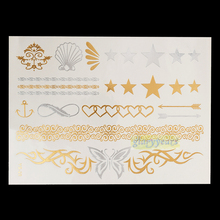 1PC Hot Flash Metallic Waterproof Temporary Tattoo Gold Silver Women Henna YS-20 Star Heart Butterfly Arrow Design Tattoo Stick