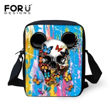 FORUDESIGNS Mini Men Messenger Bags Cool Punk Style 3D Skull Graffiti Printed Boys Kids Crossbody Bag Men's Travel Bag Handbag
